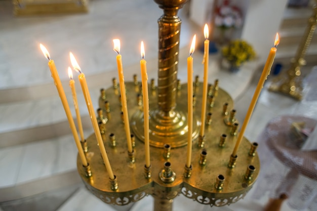 Burning candles in the orthodox christian church
