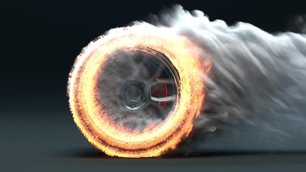 불타는 자동차 바퀴 3d 렌더링