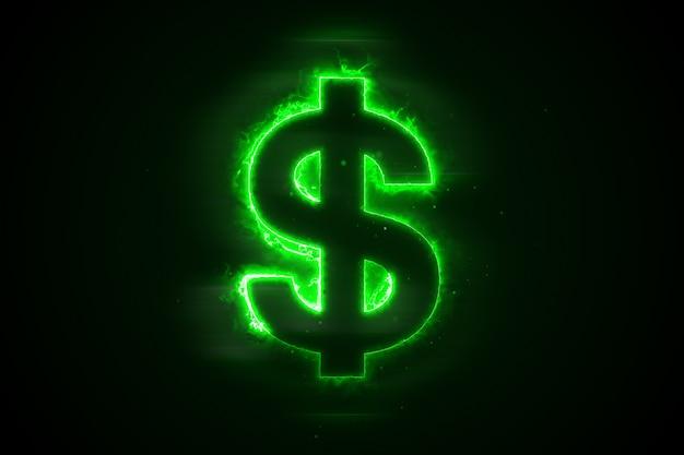 Burning a dollar on a black background