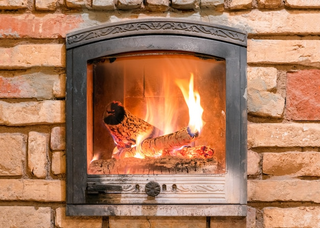 Burning fireplace with wooden logs and flame inside.