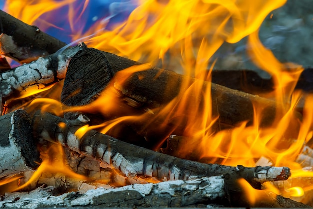 Burning flames and glowing coal in bbq, hdr image