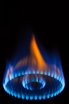 Burning gas burner in the darkness