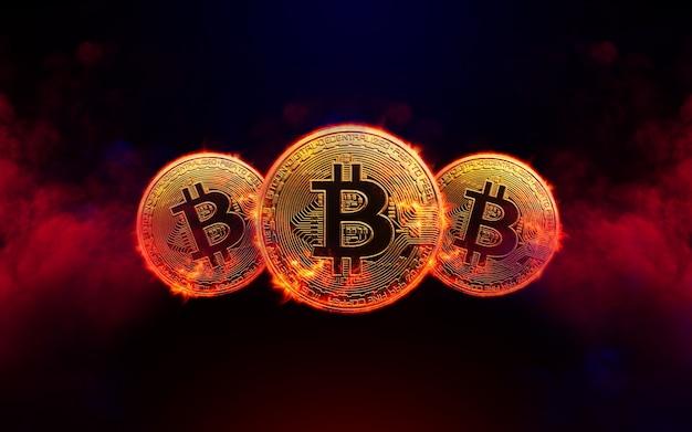 Горящая золотая монета биткойн на фоне красного дыма концепция криптовалюты