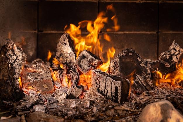Горящий в огне барбекю