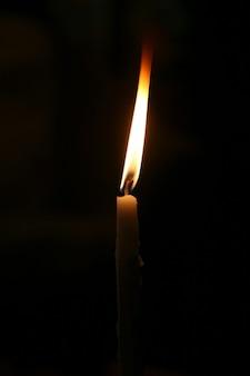 暗闇の中で燃える小さなろうそく