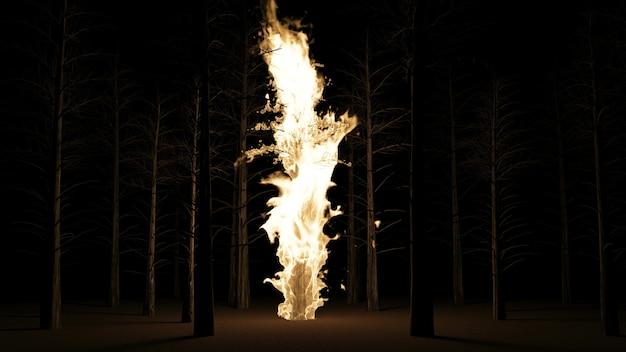 夜の森で松の木を燃やす
