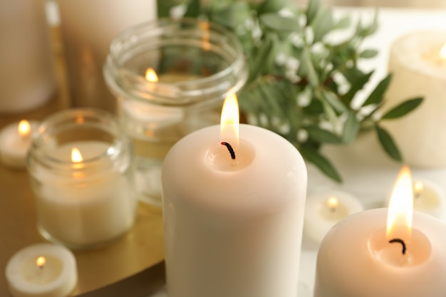 휴식을위한 불타는 향초, 클로즈업