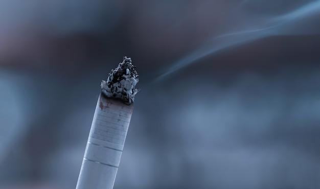 燃えるくすぶっている喫煙タバコのクローズアップが分離されました。白い背景の上の燃えるタバコ。