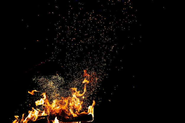 Burning woods with firesparks, flame and smoke.