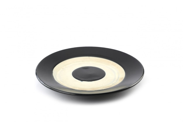 Burnt tile dish of japanese style isolated