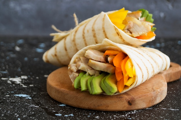 Burrito with grilled chicken and vegetables