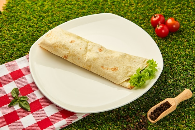 Burrito wraps with chicken and vegetables on a plate with green grass  , mexican shawarma