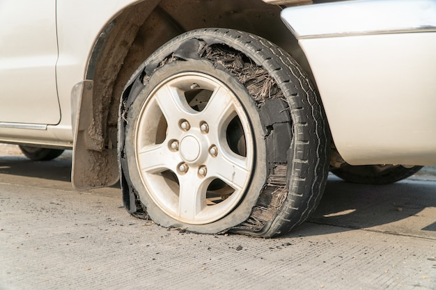 Burst tire on the road