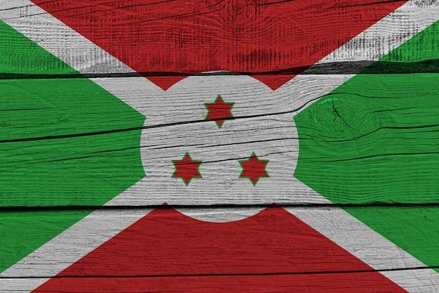 Burundi flag painted on old wood plank
