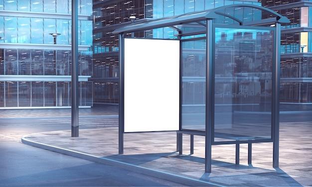 Bus stop 3d rendering