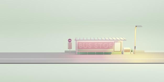Bus stop cartoon city public transport 3d illustration