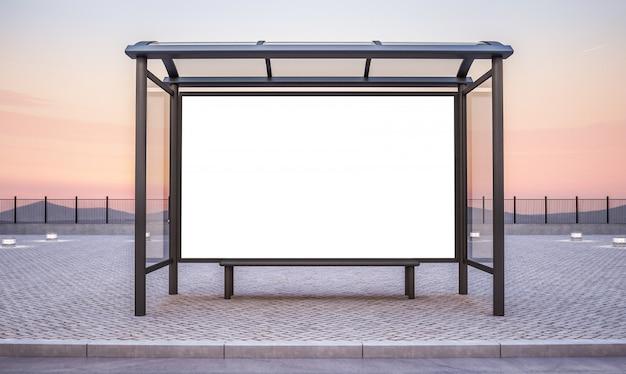 大きな横型広告のあるバス停
