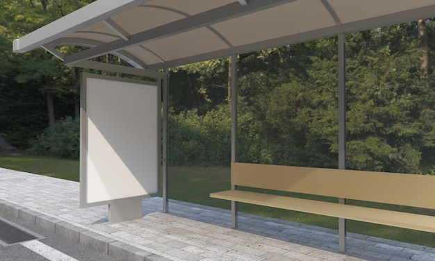 Bus stop with blank frames