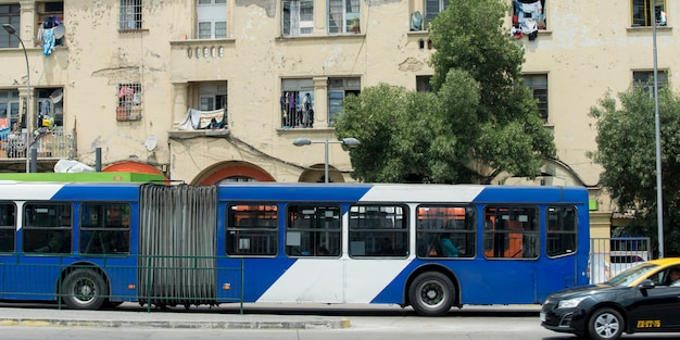 Bus on the street, santiago, santiago metropolitan region, chile
