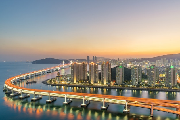 Busan city skyline in haeundae business district area