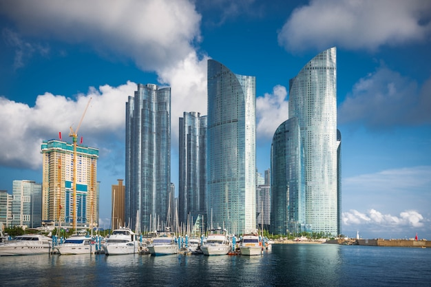 Busan city skyline and skyscrapers in the haeundae district., south korea.