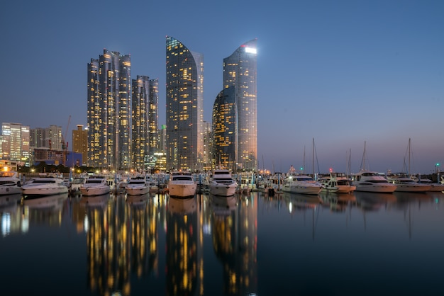 Busan city skyline view at haeundae district