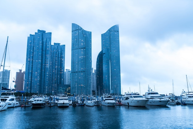 Busan city skyline view with cloudy at haeundae district