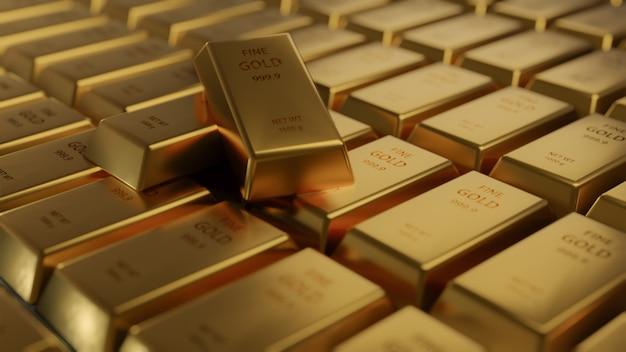 行のクローズアップの光沢のあるゴールドバーの配置。 busienssゴールドの未来と金融の概念。世界経済と為替。マネートレードと安全な避難所の市場、3dレンダリング