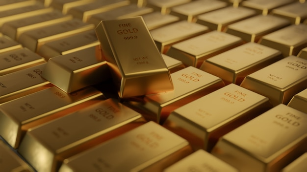 Расположение бара золота крупного плана сияющее в ряд. busienss gold будущее и финансовая концепция. мировая экономика и обмен валют. торговля деньгами и торговая площадка, 3d-рендеринг