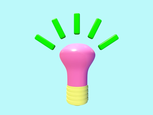 Business 3d icon on pastel color background.light bulb.