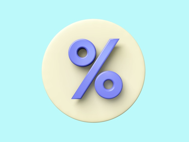 Business 3d icon on pastel color background.show percentage