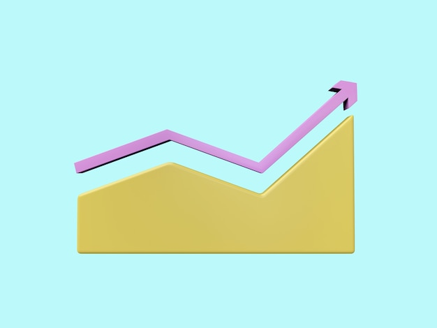 Business 3d icon on pastel color background.