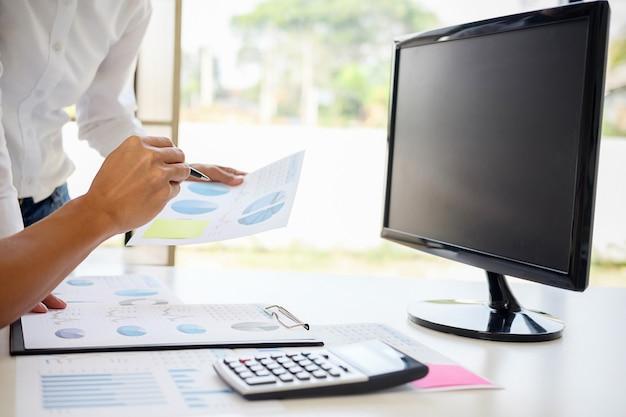 Business adviser analyzing financial denoting progress internal revenue service checking d