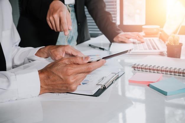 Business adviser analyzing financial figures denoting