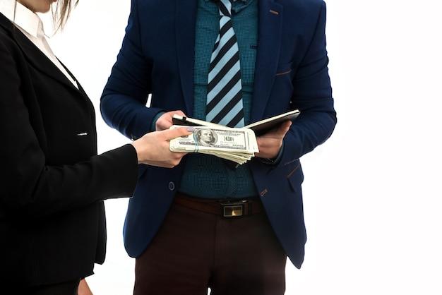 Business agreement between partners. the dollar deal.
