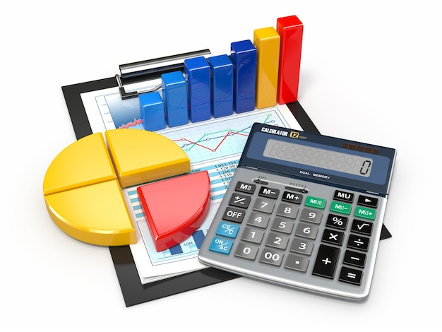 ビジネス分析。電卓と財務報告。