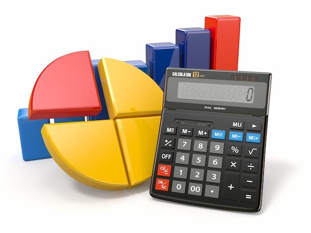 ビジネス分析。電卓とグラフィック