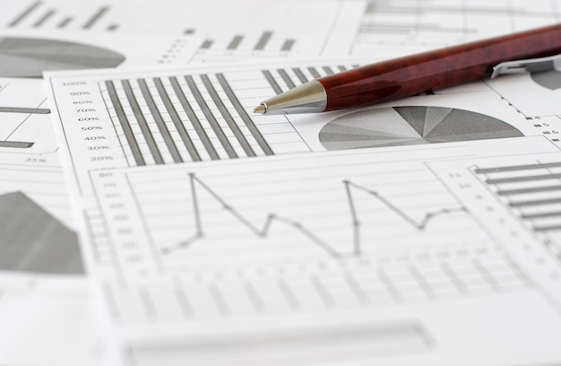 Business analytics, graphs and charts. a schematic drawing on pa