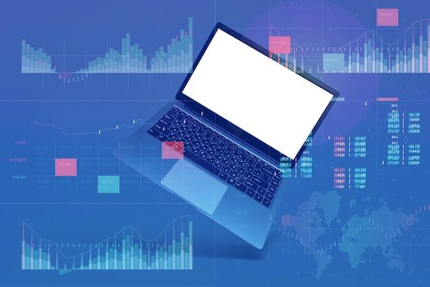 핵심 성과 지표 대시 보드 개념을 사용한 비즈니스 분석. 회색 배경에 흰색 화면 모형과 노트북입니다.