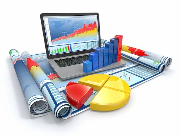 ビジネス分析。ラップトップ、グラフ、図。