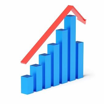 Концепция бизнеса и банкротства. обанкротившийся график и стрелка с рецессией