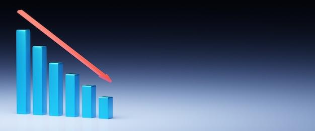 비즈니스와 파산 개념 불황과 빈 배경 파산 그래프