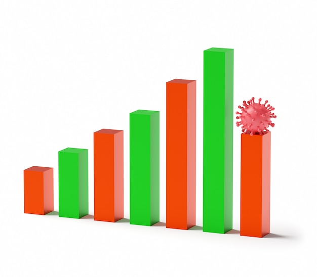 Концепция бизнеса и банкротства. обанкротившийся график с рецессией из-за коронавируса