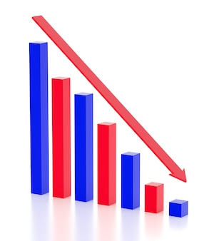 비즈니스와 파산 개념 불황과 파산 그래프