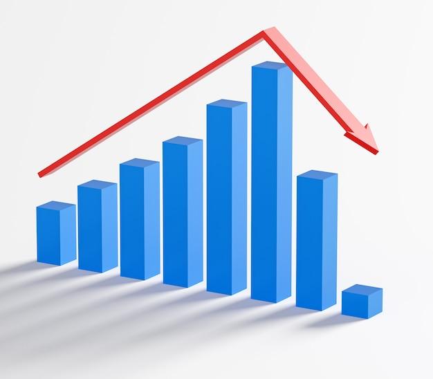 비즈니스 및 파산 개념. 불황이있는 파산 그래프