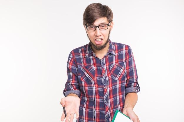 비즈니스와 감정 개념 - 카메라에 비명을 지르는 화난 남자의 초상화