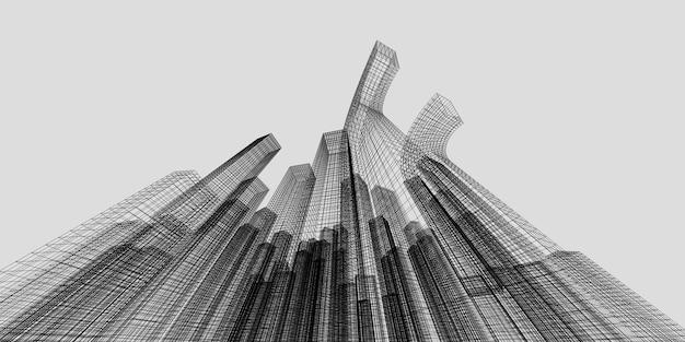 비즈니스 및 금융 센터 건물 3d 이미지 아키텍처, 3d 일러스트레이션