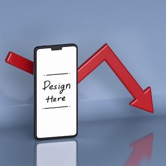 スマートフォンの白い画面と背景の3dレンダリングの矢印によるビジネスと投資の成長