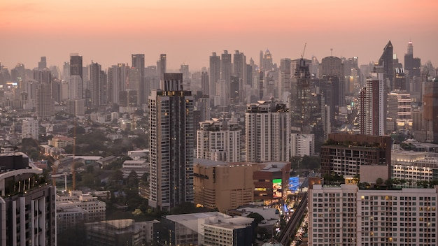 Business area in bangkok, thailand, showing buildings in twilight time