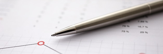 Business background chart with silver pen lie